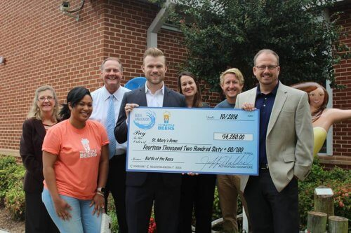 757 Battle of the Beers Check Presentation for St. Mary's Home in 2016
